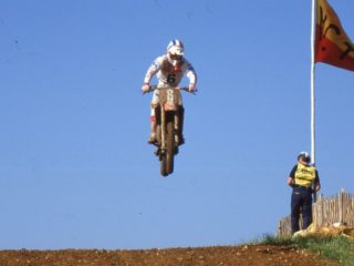 Strijbos on his Honda, in '86 it would be Cagiva