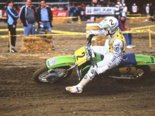 Georges Jobe on his Kawasaki