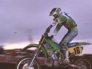 Malin on his way to 11th overall on his Kawa in 1990