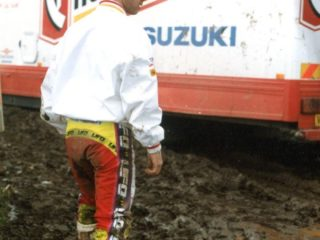 Tragter won 2 motos and finished 3rd on the Chesterfield Suzuki
