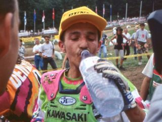 Frederic Vialle after winning a moto in France